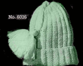Baby Simple Ribbed Hat Knitting Pattern || Vintage 1960's ||Reproduction Printed Pattern 6026-60