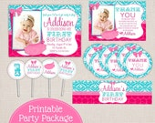 Chic Tutu Turquoise & Pink Damask and Dots Custom Printable Birthday Party Package