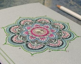 Mandala Journal. Yoga Notebook. Mint Mandala. Embroidered A5 Journal. Boho Notebook. Mandala Journal. Colorful Boho Journal. Stitch Art