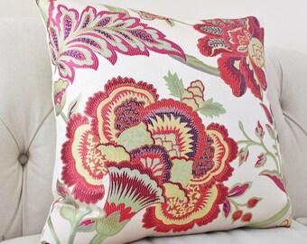 Decorative Floral Pillow - Pink Fuchsia Magenta Red Purple Green Pillow Cover - Designer Throw Pillow - Jacobean Pillow