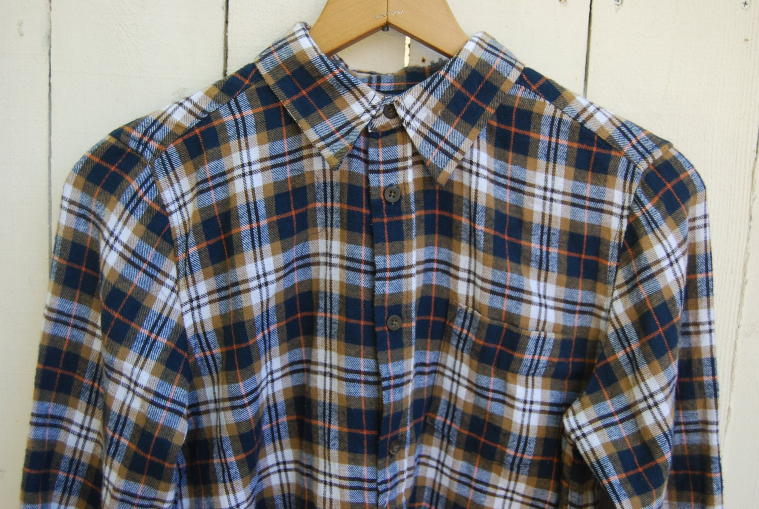 Orange Stripe Brown White And Blue Long Sleeve Flannel Shirt