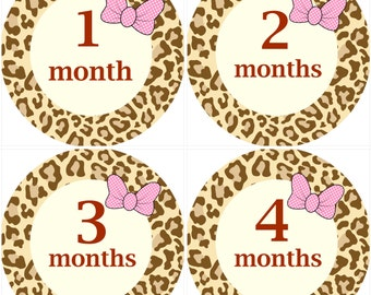 Leopard Monthly Birthday Stickers with Pink Bow