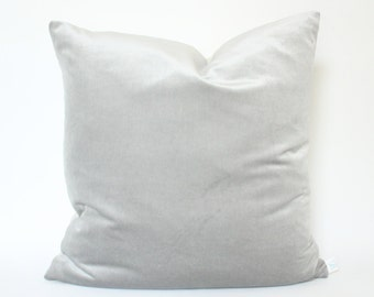 Schumacher Light Grey Silver Velvet Pillow Cover
