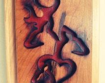 Browning Deer Logo Male Female Child Heart Love Red Debossed Wood Carving Art Wall Hanging