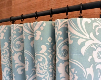 Window Treatments Curtains Drapery Panels 24W or 50W x 63, 84, 90, 96 or 108L Ozbourne Village Blue Natural shown
