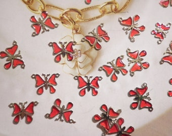 24 Silverpllated Ruby Red Butterfly Pendants