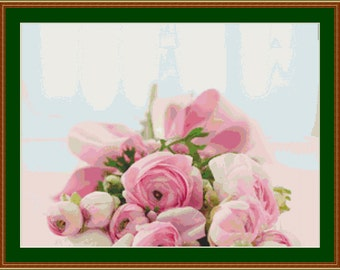 Roses Bouquet Cross Stitch Pattern