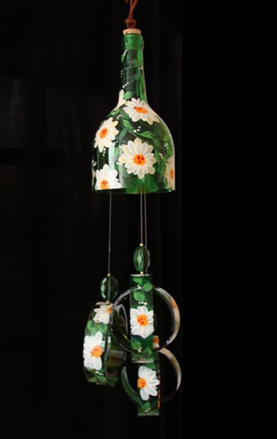 Items similar to wind chime green glass daisy made from for Things made from wine bottles