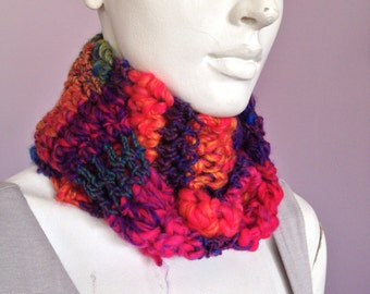Super bright crocheted scarf