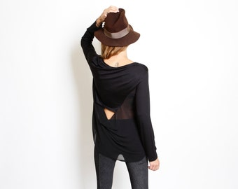 Black shirt - open back shirt - open back top - black top back, - Mixed Fabric- black blouse
