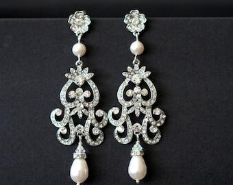 Crystal and Pearl Wedding Earrings, Rhinestone Pearl Bridal Earrings, Chandelier Bridal Earrings, Vintage Style Bridal Jewelry, ZAHARA