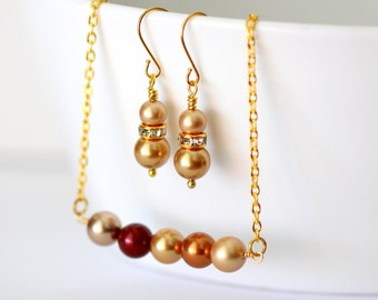 Pearl Necklace Earrings Set Bridesmaid Necklace Earrings Set Bridesmaid Gift Pearl Jewlery Set Vintage Style Gold Brown Copper AUTUMN-JS