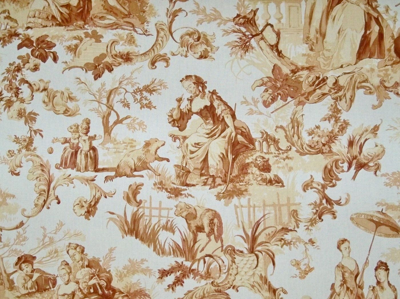 Travers bergere shabby romantic fragonard french toile fabric for French toile fabric