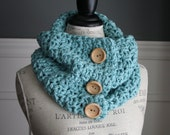 AQUA Blue cowl neck scarf with 3 wooden buttons, crocheted