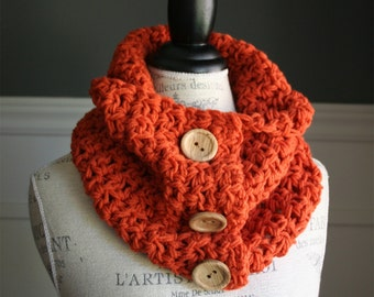Pumpkin Orange Cowl Scarf with 3 wooden buttons, crocheted