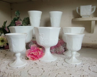 7 Piece Vintage Indiana Glass White or Milk Glass Goblet Vase and Compote Set Grape Vine Pattern  B843