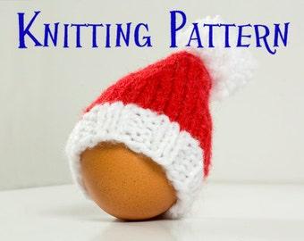 PDF Knitting Pattern - Santa Hat Egg Cozy, DIY Knit Egg Cosy, Christmas Decoration Knitting Instructions