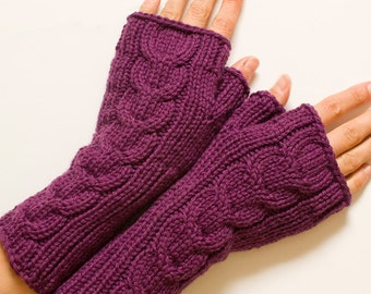 Plum Fingerless Gloves, Wool Cabled Fingerless Mittens, Purple Mittens, Knit Wrist Warmers, Arm Warmers