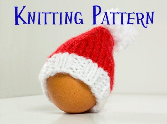 PDF Knitting Pattern Santa Hat Egg Cozy DIY Knit Egg Cosy