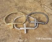 Cross Bracelet - Sideways Cross Bracelet - Beaded Cross Bracelet - Cross Jewelry