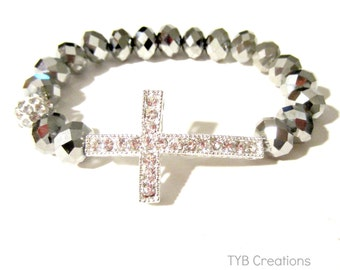Silver Sideways Cross Bracelet
