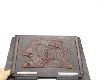 Antique magazine rack Antique newspaper holder Vintage mail organizer Antique mail organizer Sailing boat Ship