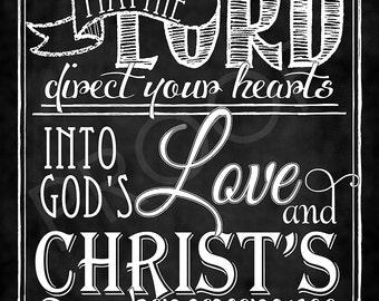 Scripture Art - 2 Thess 3:5 Chalkboard Style