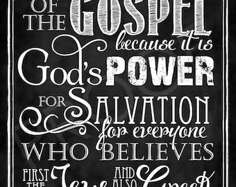 Scripture Art - Romans 1:16 Chalkboard Style