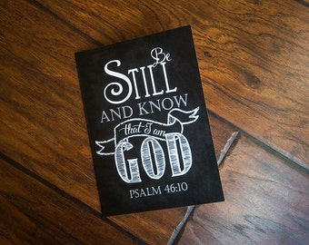 Scripture Art - 5x7 Folded Greeting Card on linen paper (with envelope) Psalm 46:10