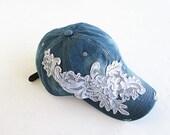 Embellished Baseball Cap-Women's Cap-Baseball Cap-Fashion Cap-Steam Punk Cap-Denim Cap.