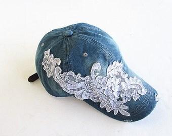 Gifst For Her, Embellished Baseball Cap-Women's Cap-Baseball Cap-Fashion Cap-Steam Punk Cap-Denim Cap.