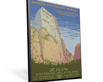 National Parks - Zion Vintage WPA Reprint on 9x13 PopMount Ready to Hang - FREE Shipping (Contl US)