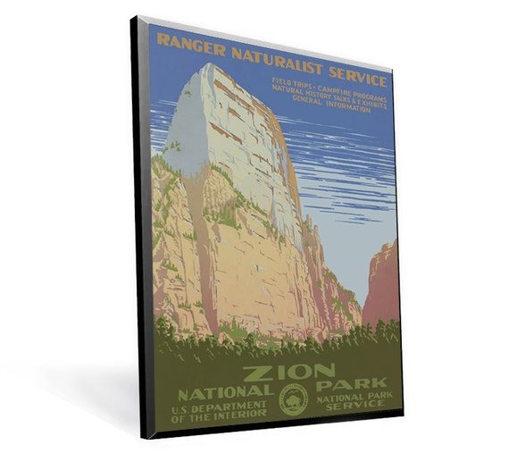 National Parks - Zion Vintage WPA Poster Reprint on 9x13 PopMount Ready to Hang FREE SHIPPING 31200913