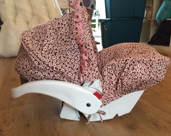 Infant Car Seat Cover, Hula Moon Infant Car Seat Cover in Pink and Brown Daisy, Baby Car Seat Cover