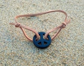 Tan Adjustable Peace Sign Bracelet