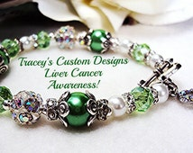 Beautiful LIVER CANCER AWARENESS Bracelet - Custom Made Jewelry