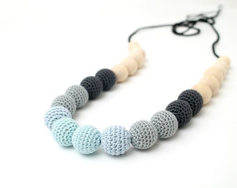Blue & Grey Gradient Nursing necklace, Breastfeeding/Babywearing necklace, Teething toy Easter gift