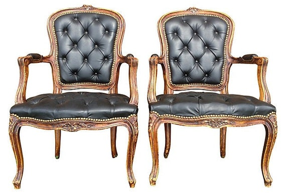Pair of Leather Tufted Antique Armchairs Upholstered in Black Dining Chairs