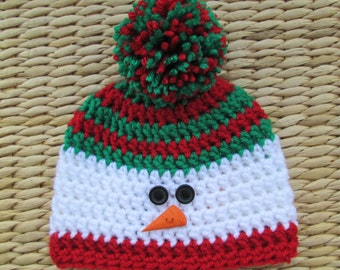 Snowman Hat, Christmas Hat, Christmas Baby, Winter Hat, Pom Pom Hat, Newborn Hat, Baby Hats, Toddler Hat, Kids Hats, Womens Hats, Mens Hats