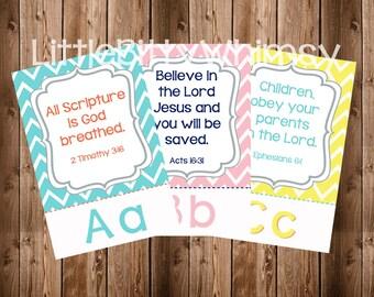 Abc Scripture Cards Set 1, Abc Bible Verses, Chevron, Scripture Cards, Bible Memory, Instant Download, Digital Printable