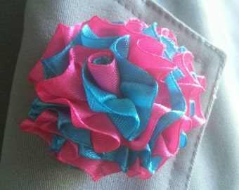 Pink and Turquoise Lapel Pin Brooch Pin Flower Pin Boutonniere