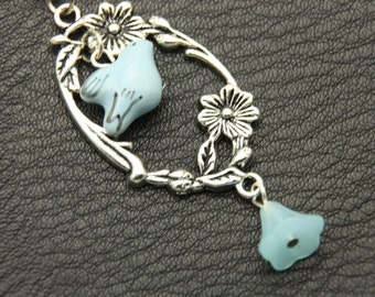 Necklace bird and flowers