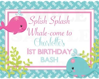 Pink Girls Under the Sea Birthday- Personalized Printable Welcome Door Sign - DIGITAL FILE