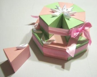 Paper cake box. Cake for gift. Cristening Wedding Birthday Baby Shower Cake Remembrance. Cake favor boxes. Pink and green paper cake box