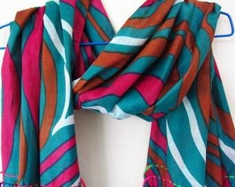 Aqua Swirls Fashion Scarf Womens Scarf 100% Organic Cotton Hand stitched Neon Threads and Tassels OOAK