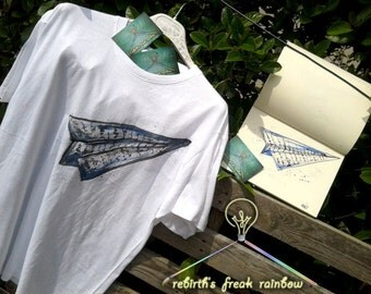 T-shirt Origami Plane, hand-painted,  cotton 100%