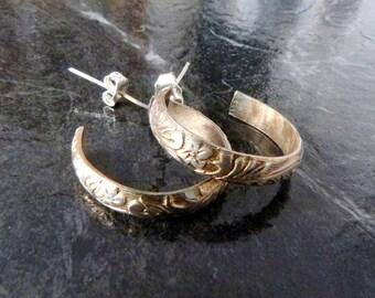 Patterned Sterling Silver Hoop Earrings, Classic 925 Silver Hoops, Handmade Floral Pattern Post Earrings