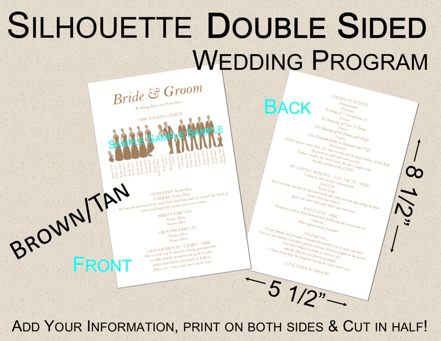 Template Script Double Sided Silhouette Wedding Program By
