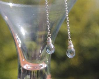 Mystic green quartz faceted briolette drop earrings