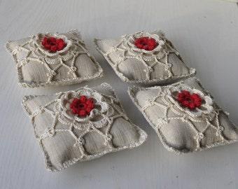Pincushion with Irish Crochet Lace motif